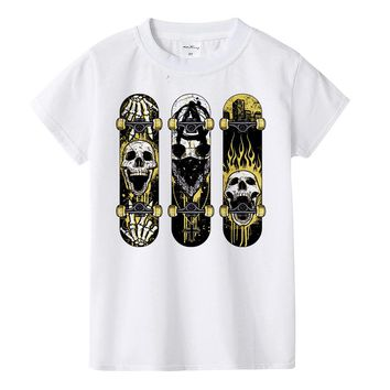 Boy Skull Skateboard print fashion t-shirt Extreme sport
