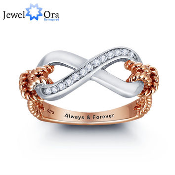Personalized Ring 925 Sterling Silver Infinity Love Promise Valentine's Day Gift (JewelOra RI101795)