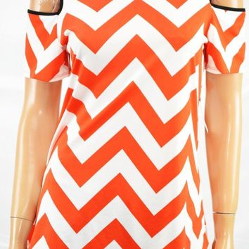 NY Collection Women Stretch Red Chevron Print Cold-Shoulder Cutout Blouse Top M