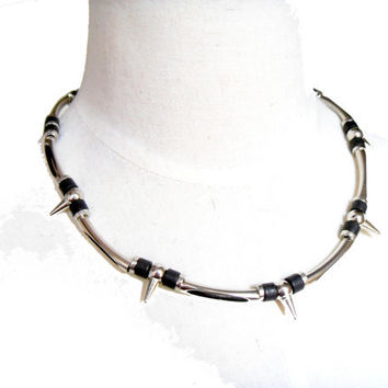 Gothic black silver spike beaded punk necklace UNisex men women jewelry choker gift