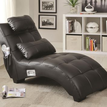 Black faux leather upholstered chaise lounge with built in Bluetooth speaker system