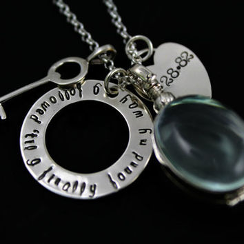Hand Stamped Necklace - Locket Necklace - Key to Heart - Hand Stamped Jewelry - Glass Locket - Tiny Tokens
