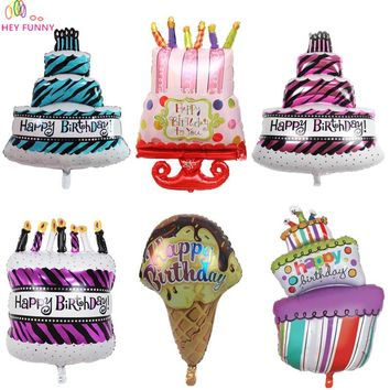 HEY FUNNY 1 pc Large Size Lovely Birthday Cake Foil Balloons For Birthday Party&Baby Shower Decoration Kids Inflatable Air Balls