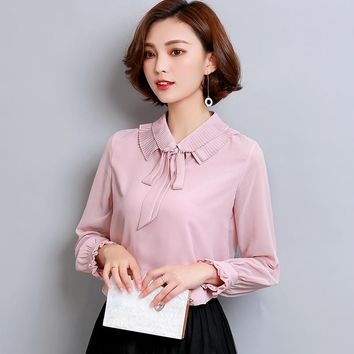 New Shirt Women OL Fashion Peter Pan Collar Bow Women Blouses Long Sleeve Chiffon Blouse Office Ladies Work Wear Plus Size Tops