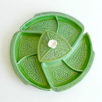 Mid Century USA/California Pottery Chip N Dip Set, Green Lazy Susan Set, 1950s 1960s, Veggies & Dip, Entertaining, RETRO Party Serving Set.