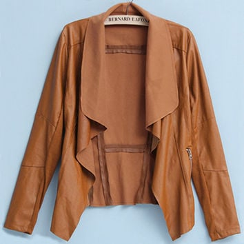 'The Addision'  Brown Long Sleeve Zippered Leather Jacket