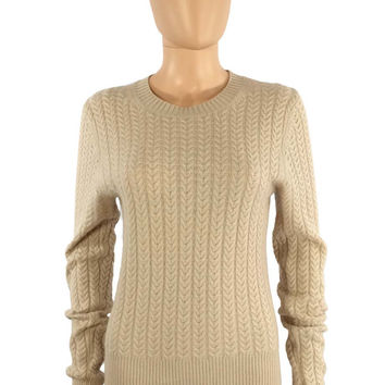 Theory Beige Horseshoe Cable-Knit Cashmere Sweater / Sz M-L