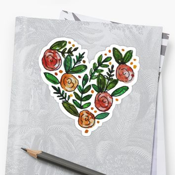'Floral Heart' Sticker by kelsquits