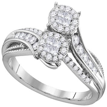 14kt White Gold Women's Princess Round Diamond Soleil Bypass Bridal Wedding Engagement Ring 1/2 Cttw - FREE Shipping (US/CAN)