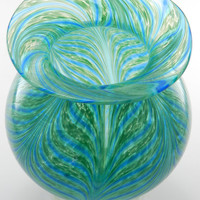 Hand Blown Art Glass Vase - Apple Green and Aqua Blue - Celadon Green - Ocean - Seafoam - Turquoise - Mint Green