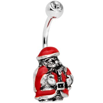 Clear Gem Christmastime Little Santa Claus Belly Ring
