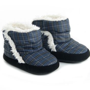 Polar Feet® Infants' Booties Cubbies™ Dark Blue Plaid