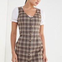 UO Woven Plaid Button-Front Dress | Urban Outfitters