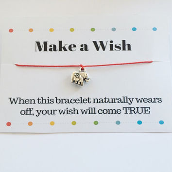 Elephant Bracelet, Make a Wish Elephant Bracelet, Red String Bracelet, Protection Bracelet, Elephnat Wish Bracelet, Gift Idea