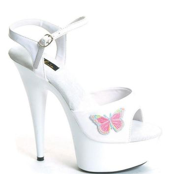 Ellie Shoes Butterfly Ankle Strap platform Sandal With Butterfly (11,Black)