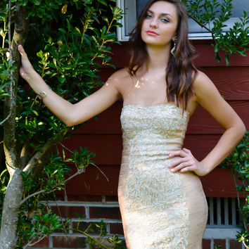 Jovani 20878 In Stock Gold Bandage Cocktail Homecoming Dress