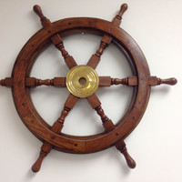 Wood and Brass Ship Wheel 24 Wooden Ships by NauticalBeachDecor