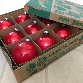 Large Shiny Brite Red Glass Ball Ornaments, made in America, Box of Christmas Mercury Glass Decorations, Free US Shipping