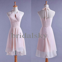 Lovely Halter Short Pink Bridesmaid Dresses Prom Dresses Evening Dresses Formal Party Occasions 2014 New customer Made