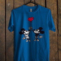 Happy Valentines Day Disney mickey minnie mouse Blue Mens T Shirt **