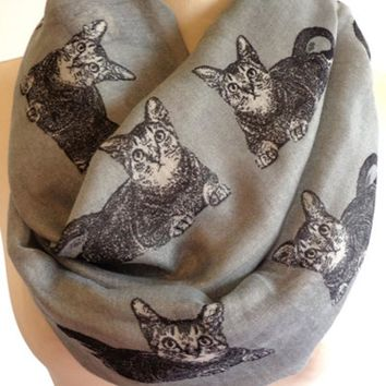Free Shipping 2017 New Fashion Ladies Cute Woman Grey Navy Color Cat Print Infinity Scarves Cat Animals Scarf For Womens