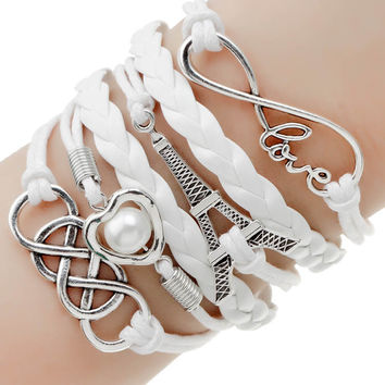 2016 Fashion Jewelry Leather Double Infinite Multilayer Bracelet