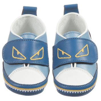 Fendi Baby Boys Blue 'Monster' Shoes