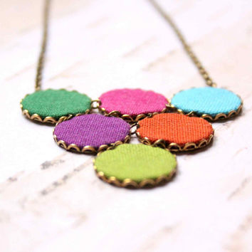 Statement Boho Necklace in Green, Blue, Pink and Orange colors - Colorful Dots