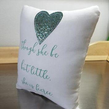 Nursery throw pillows gift for baby girl quote pillow white cushion