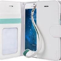 iPhone 6s Case, TORU [Prestizio Wallet] - [CARD SLOT] [ID Holder] [KICKSTAND] [DUAL MAGNETIC HOLD] [WRIST STRAP] - Premium Leather Flip Cover Wristlet Wallet Case for iPhone 6 / 6s - White