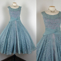 1950s Dress THE GOOD LIFE Vintage Couture 50s Blue by jumblelaya
