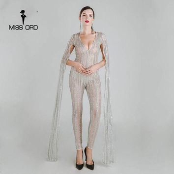 ICIKL3Z Missord 2017 Sexy Deep-V cut out long sleeve glitter sequin jumpsuit  FT4682