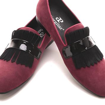 Handmade Men red velvet  classic loafers with large suede fringed Fashion Party and Banquet men's flats dress shoes