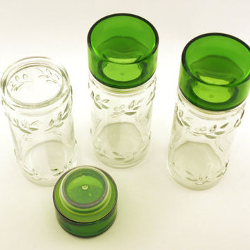 Vintage Jars. Glass canisters. Green glass lid, raised Leaf pattern, circa mid 1960s. Bath salts storage, Tea jar