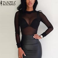 ZANZEA 2016 Sexy Women Blouses See Through Transparent Mesh Stand Neck Long Sleeve Sheer Blouse Shirt Ladies Tops Tee Plus Size
