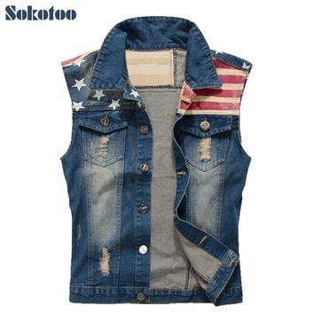 Sokotoo Men's casual stars and strip print patch design denim vest American flag holes ripped coat Plus large size tank top