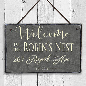 Outdoor Welcome Sign! Slate Family Sign, Outdoor Sign, Weatherproof Sign, Family Name Sign, Family Decor, Wedding Gift, House Warming Gift.