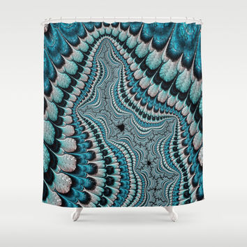 Native American Headdress (fractal art) Shower Curtain by    Amy Anderson