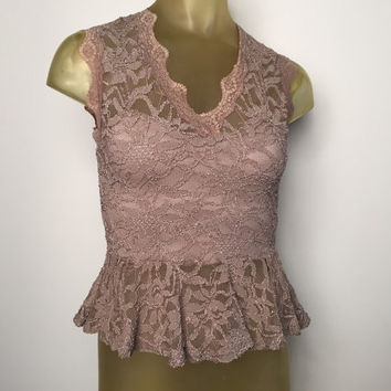 Sleeveless Peplum Blouse Silver Purple Lace Top Vintage 90s V Neck Party Blouse See Through Lace Lined Bust Cute Flirty Lace Shirt Tank Top