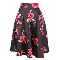 Beautiful Black Skirt with Rose Detail