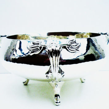 Art Nouveau Solid Silver Centrepiece Bowl, Sterling, ANTIQUE, Edwardian, Hallmarked London 1902, Robert Stewart, REF:256Q