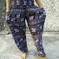 Trousers Yoga Harem Pants Elephant Print fabric Gypsy Hippies Baggy Boho Fashion chic exercise clothing Gypsy Tribal Clothes Summer in black