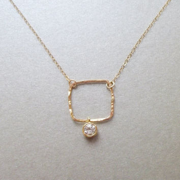 Delicate long geometric necklace, Square necklace, gold filled necklace, statement jewelry