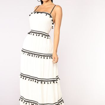Caracas Tassel Dress - White/Black