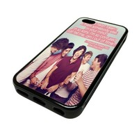 Apple iPhone 5C 5 C Case Cover Keep Calm and Love One Direction 1D DESIGN BLACK RUBBER SILICONE Teen Gift Vintage Hipster Fashion Design Art Print Cell Phone Accessories