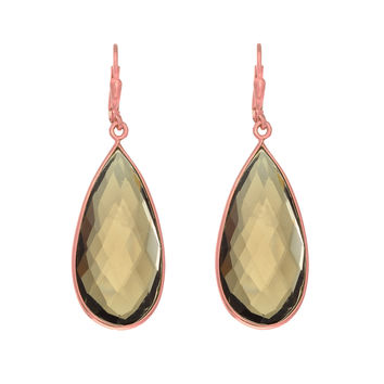 Long Teardrop Faceted Smokey Quartz Earrings Set In Rose Gold Plated Sterling Silver