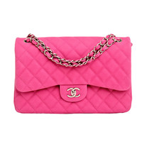 Chanel Hot Pink Matte Quilted Caviar Classic 2.55 Jumbo Double Flap Bag