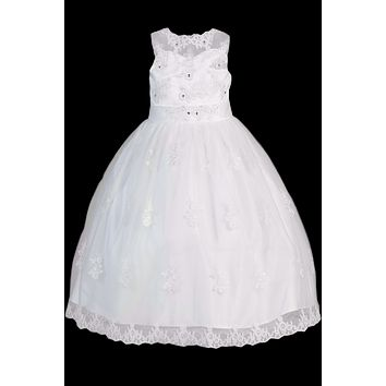 Girls Plus Applique Organza Communion Dress w. Illusion Neck 8x-20x