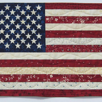 American Flag Wall Quilt or Table Topper Large Size 21 1/2 x 14 1/2 inches