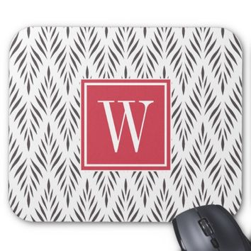 Modern Stylish Gray White Leaves Pattern Monogram Mouse Pad
